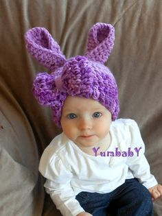 Bunny Hat Newbonr Bunny Hat Baby Girl Purple Easter Bunny with Oversized Bow. $19.95, via Etsy.