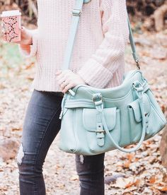 #winter #fashion /  Pink Knit + Blue Leather Shoulder Bag