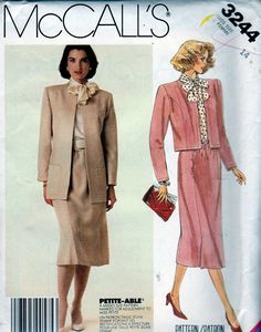 McCall's Sewing Pattern 3244 ©1987 Misses' Lined Jacket and Skirt, Sz 14, FF