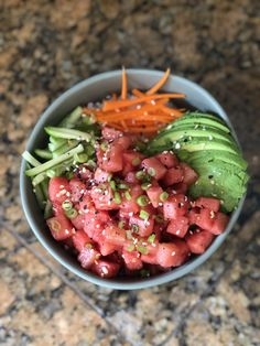 "Vegan ""poke"" bowl with watermelon 🍉 served with white rice, avocado, cucumber, carrots and green onion topped with Trader Joe's everything but the bagel seasoning. White Rice Recipes, Vegan Recipes, Cooking Recipes, Cucumber Recipes, Poke Bowl, Bagel, Healthy Foods, Onion, Carrots"