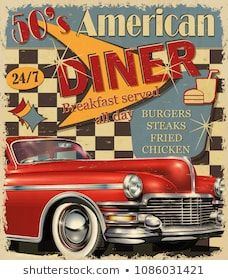 Illustration of American Diner vintage poster. vector art, clipart and stock vectors. 50s Diner, Vintage Diner, Art Deco Posters, Room Posters, American Retro, Diner Aesthetic, Retro Poster, 1950s Posters, Retro Pictures