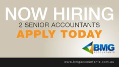 Looking for a full-time job? We are hiring 2 Senior Accountants. Click the image to know more. #BMGAccountants #JobOpportunity #JobVacancy #SeniorAccountant