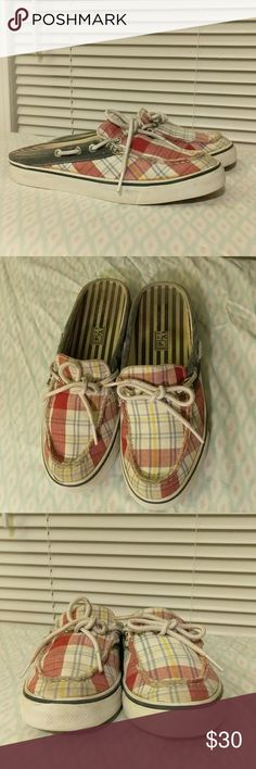 Sperry top sider nautical slip-ons These shoes are in good used condition. Size 6.  Please look really pictures to judge condition for yourself. Sperry Shoes