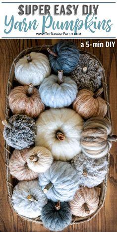 Fall Pumpkin Crafts, Easy Fall Crafts, Diy Pumpkin, Pumpkin Ideas, Diy Crafts With Yarn, Easy Thanksgiving Crafts, Autumn Diys, Fall Wood Crafts, Gift Crafts