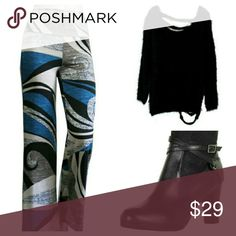 """Geo Print Palazzo Pants (S/M/L) Trendy, geometric print palazzo pants, wide legs, double fold waistband, comfy & casual. TRENDY & COMFY STYLE!  Material: polyester & spandex Approx. Measurements (flat): S: 12.5"""" waist, 19"""" hips, 42"""" length  M: 13.5"""" waist, 21"""" hips, 42"""" length  L: 14.5"""" waist, 23"""" hips, 43"""" length Pants"""