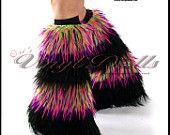 Raver outfit Fuzzy Boot Covers Fluffies Stripy White / Black Furry Leg Warmers. $44.95, via Etsy.