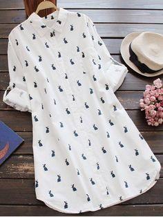 Casual Long Sleeve Rabbit Print Tunic Shirt – White – L - Leggings Tunic Shirt, Shirt Dress, Tunic Tops, Trendy Fashion, Womens Fashion, Fashion Spring, Latest Fashion, Fashion Trends, Vintage Fashion