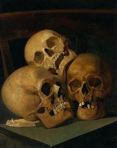 Henri Leys (1815-1869), Nature Morte aux Trois Crânes.