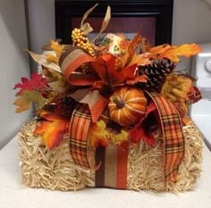 Fall Hay Bale Colors Of Fall Silk Flower Centerpiece Tabletop Arrangement Fall Door Decorations, Thanksgiving Decorations, Fall Banquet Table Decorations, Thanksgiving 2020, Harvest Decorations, Thanksgiving Crafts, Silk Flower Centerpieces, Fall Flower Arrangements, Fall Crafts