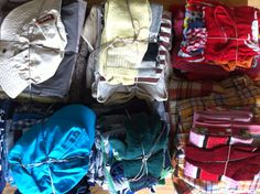 Selection of worn clothes for the Carpet of Life in stripes by trend researcher Hilde Roothart.