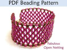 Beading Pattern, Netting Stitch Bracelet, Seed Bead Tutorial, Horizontal Flat Netted Patterns, Tutorials, Beadweaving Beaded Bracelets. $7.00, via Etsy.