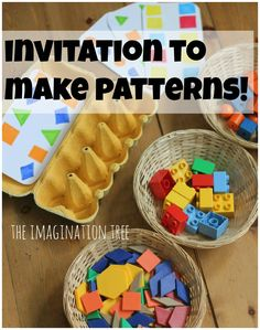 Making Patterns with Lego and Egg Cartons - The Imagination Tree.Great for home or preschool with 3 year olds to school age children as a fun way to learn about pattern making, sequencing and matching by colour and shape! Preschool Centers, Preschool At Home, Preschool Learning, Kindergarten Math, Toddler Activities, Preschool Activities, Elementary Math, Play Based Learning, Learning Through Play