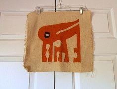 Vintage woven tribal bird tapestry