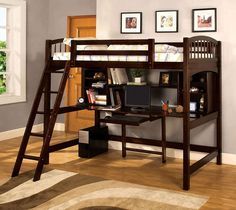 Furniture of America Bowery Bookcase Twin Loft Bed - Espresso - Bunk Beds & Loft Beds at Hayneedle Futon Bunk Bed, Bunk Bed With Desk, Loft Bunk Beds, Bunk Beds With Stairs, Kids Bunk Beds, Loft Spaces, Small Spaces, Living Spaces, Bed With Desk Underneath