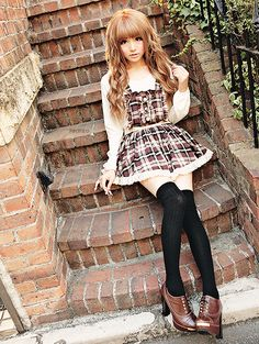 Cute, sweet gyaru: White blouse. Brown, checkered dress with white hem. Black…