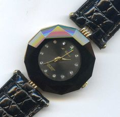 M Cassini CO17 WR Thai ETA Jeweled Black Quartz Ladies Watch Runs Beveled Glass #MCassini #Casual