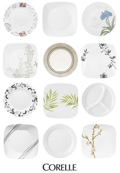 Corelle dishes - not sure about the pattern, but they will def be corelle!