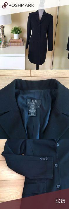 🍁BCBG Long Blazer 🍂 So pretty for Fall!   BCBG Long Classic Blazer!  - Black color  - Size 8  - 71% acetate, 29% polyester      📬 THE SAME DAY SHIPPING   💰15% OFF ON BUNDLES     📱FOLLOW ME ON INSTAGRAM   @Showroom.Marusya    🚫 SORRY, NO TRADES   🚫 NO PAYPAL BCBGMaxAzria Jackets & Coats Blazers