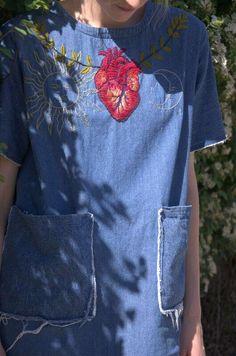 denim shift dress with heart sun and moon