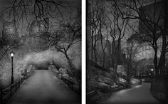 Photographs by  Michael Massaia.  Left: Gapstow Bridge, 2009. Right: South View, 2009. http://www.slate.com/blogs/behold/2015/10/30/haunting_images_of_new_york_city_s_central_park_from_michael_massaia_photos.html