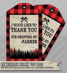 Lumberjack Thank You Favor Tag Card Birthday Digital Printable