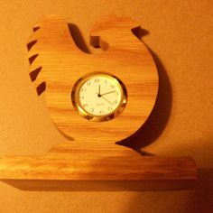 Wooden rooster shaped miniature desk clock by Fine Crafts on Opensky