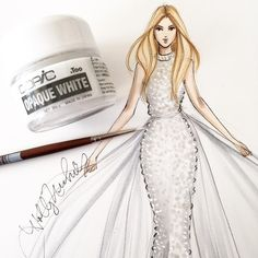 """""""I usually use @copicmarker's Opaque White to create sparkle and shine, but used it here to create texture! Gown design is Ralph and Russo  #fashionsketch…"""""""