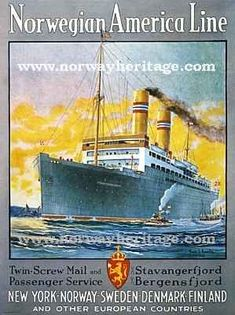 Norwegian America Line advertising poster - ship images Bus Travel, Cruise Travel, Worldwide Travel, Ship Art, Advertising Poster, Vintage Travel Posters, Illustrations Posters, Cruise Ships, The Past