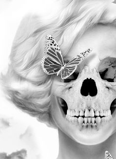 It looks like Marilyn Monroe's Skull Marilyn Monroe Drawing, Marilyn Monroe Artwork, Screaming Skull, Baby Artwork, Bye Bye Baby, Dark Photography, Digital Photography, Skulls And Roses, Skull Art