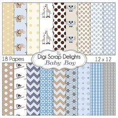 50% OFF TODAY Baby Boy Blue Digital Paper by DigiScrapDelights  #Scrapbooking #DigiScrapDelights #ClipArt #scrapbookingkits #blue #babyboy