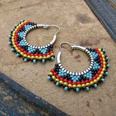 "Tribal Hoop Earrings, Beaded Boho Hoops, Red black and blue earrings, southwest style Képtalálat a következőre: ""brick stitch hoop earrings"" Tiny size 11 and size 15 beads run around the edge of silver plated hoops in a geometric pattern. This Pin Brick Stitch Earrings, Seed Bead Earrings, Blue Earrings, Hoop Earrings, Beaded Earrings Patterns, Beading Patterns, Beaded Jewelry, Handmade Jewelry, Bijoux Diy"