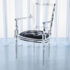 The Marilyn Acrylic Arm Chair in Pewter Gray. Sexy.