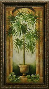 Palm Tree Decor Portrait Arch Column Tropical Still Life Framed Oil Coastal Pinterest Columns And