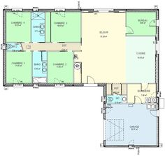 plan de maison plain pied en l | Home plan | Pinterest ...