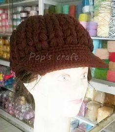 crochet hat Crochet Beanie, Crochet Hats, Knit Basket, Craft Shop, Knitting Accessories, Easy Knitting, Hoodies, Pattern, Crafts