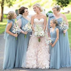 We're totally digging this blush and dusty blue! Photo by @kristenweaverphoto via @everylastdetailblog. #bridesmaids #wedding
