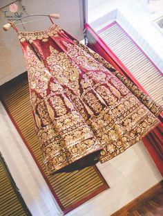 Bridal Wear - Marsala Bridal Lehenga with Dull Gold Dabka Embroidery | WedMeGood #marsala #indianwedding #lehenga #bridal #indianbride #gold
