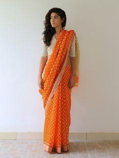Orange Malligai Chanderi and Zari Saree by Raw Mango Indian Bridal Lehenga, Indian Sarees, Indian Attire, Indian Ethnic Wear, Traditional Sarees, Traditional Dresses, Indian Dresses, Indian Outfits, Raw Mango Sarees