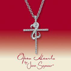 Open Hearts by Jane Seymour® Diamond Cross Necklace