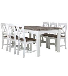 Madrid-ruokapöytä, valkoinen-harmaa