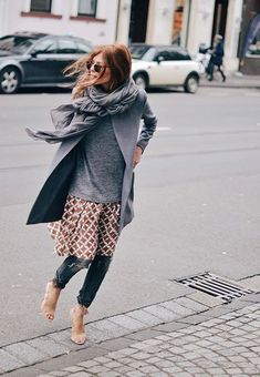 Layered autumn outfit - printed dress over pants