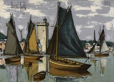 View LES SABLES D'OLONNE By Bernard Buffet; Access more artwork lots and estimated & realized auction prices on MutualArt. Buffet, Illustrations, Illustration Art, Inspiration Artistique, Watercolor Sketch, French Artists, Art Plastique, Nautical Theme, Impressionism