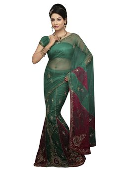 Awesome Green And Magenta Coloured Net Saree With Zari Embroidery,