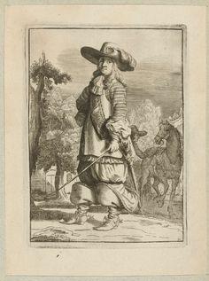 Ruiter staand in landschap, gekleed volgens de mode omstreeks 1660, Jan van Troyen, Gerbrand van den Eeckhout, Hugo Allard, c. 1660