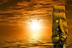 Sun, Ship, Gulls, Lake, Boot, Sky