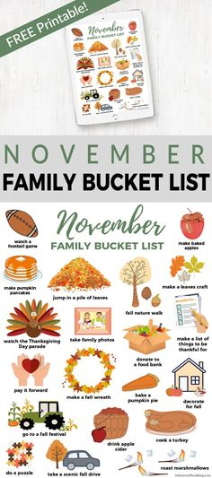 Happy November! Download and print this free Fall Bucket List and check off all the family fun you do this month!