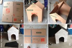 how to make a cardboard box dog house at theexperimentalhome.com