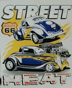 Two Vintage Old Cars Street Heat Hot Rod Adult Unisex Short Sleeve T Shirt Hot Rods, Chevy, Image Deco, Garage Art, Garage Ideas, Car Posters, Car Drawings, Automotive Art, Small Cars