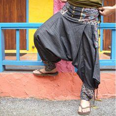 TiKiTiKe-Ethnic-Hippie-style-Bohemian-one-size-mans-baggy-pants-navy-cotton