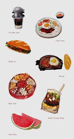 illustrations of 10 best dishes in Saigon Cute Food, Yummy Food, Healthy Food, Vietnamese Recipes, Vietnamese Food, Food Sketch, Watercolor Food, Watercolour, Food Painting